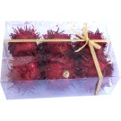 Decorations Furry Balls - Red - (Pack of 6)