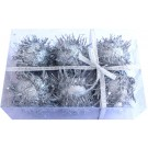 Decoration Furry Balls - Silver - (Pack of 6)