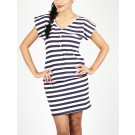 Eli Blouson Party Dress With Stripes
