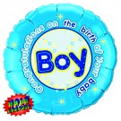 Congratulations Holographic Baby Boy Foil Balloon (Blue) - 18""