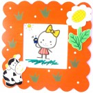 Cow & Flower Kids Photo Frame- Orange