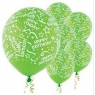 Happy B'day With Frills Latex Balloons (Green) - Pack of 5