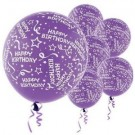 Happy B'day With Frills Latex Balloons (Purple) - Pack of 5