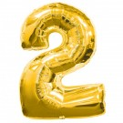 Golden Number 2 Foil Balloon -24""