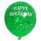 Happy B'day With Stars Latex Balloons (Green) - Pack Of 5