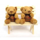 Cute Teddy Bear Couple On Bench