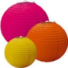 Pink, Orange & Yellow Paper Lanterns (Pack Of 3)