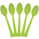 Solid Kiwi Green Plastic Party Spoons (Pack Of 24)