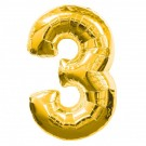 Golden Number 3 Foil Balloon - 24""