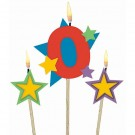 Number 0 Candle and Stars on Stick