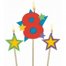 Number 8 Candle and Stars on Stick