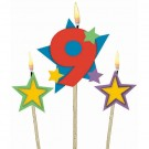 Number 9 Candle and Stars on Stick