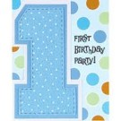1st Birthday Cupcake Boy Party Invitation Card (Pack of 8)