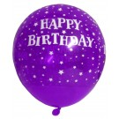 Happy B'day With Stars Latex Balloons (Purple) - Pack Of 5