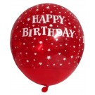 Happy B'day With Stars Latex Balloons (Red) - Pack Of 5
