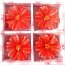 Red Flower Floating Candles Design - 2 (Pack of 4)