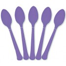 Solid Marine Blue Plastic Party Spoons (Pack Of 24)