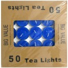 Tea Light Candle With Metal Base (Blue) - Pack of 50