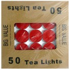 Tea Light Candle With Metal Base (Red) - Pack of 50