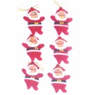 Small Santa Dolls Tree Decorations - (Pack Of 6)