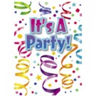"""""""It's A Party"""" Invitation Cards With Envelopes (Pack Of 8 )"""
