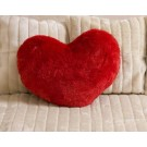 Red Furry Heart Shape Cushion