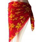 Yellow Flowers Print Red Sarong