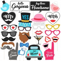 Wedding Party Photo Booth - Pack of 30