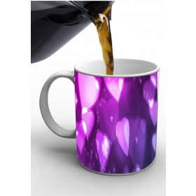 Purple & White Heart Print Valentine Mug