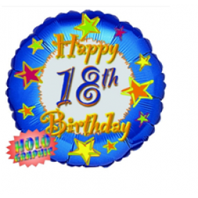 Happy 18 Birthday Holographic Foil Balloon (Blue)- 36 inch