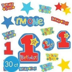 One-Derful Birthday Boy Cutouts (Pack Of 30)