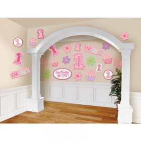 1st Birthday Cupcake Girl Cutouts 30 pcs