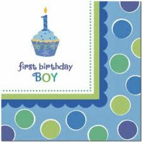 1st Birthday Cupcake Boy Paper Napkins (Pack Of 36)