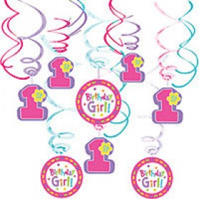 1st Birthday Cupcake Girl Swirl Decorations