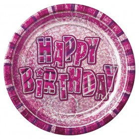 Glitz Birthday Premium Paper Plates (Pink) - Pack Of 8