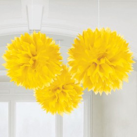 Yellow Fluffy Decoration 16in -Pack of 3