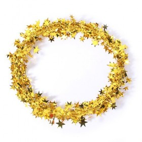 15 Feet Star Tinsel Garland Decoration (Gold)