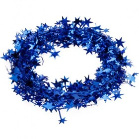 15 Feet Star Tinsel Garland Decoration (Blue)