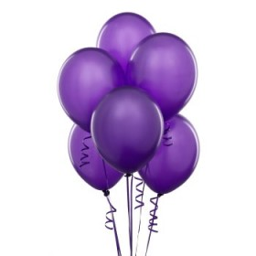 Premium Purple Metallic Latex Balloons (Pack Of 10) - 12""