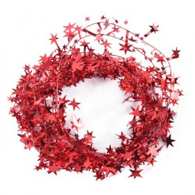 15 Feet Star Tinsel Garland Decoration (Red)
