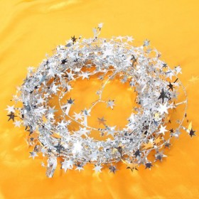 15 Feet Star Tinsel Garland Decoration (Silver)