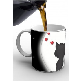 Black & White Cat Print Valentine Mug