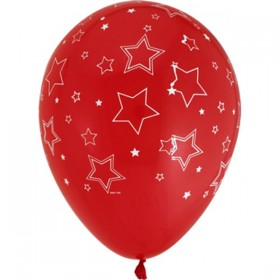 "Star Printed Latex Balloons 18"" - (Pack Of 5) -Red"