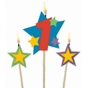 Number 1 Candle and Stars on Stick