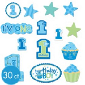 1st Birthday CupCake Boy Cutouts 30 pcs