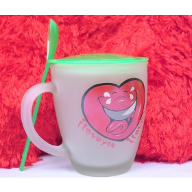 I Love You Heart Print Mug With Stirrer