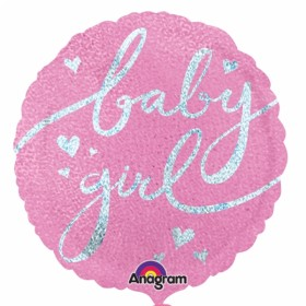 Baby Girl Party Holographic  Foil Balloon