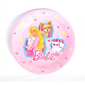 "Barbie Paper Plates - 9"" Pink (Pack Of 8)"