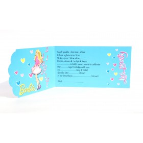 Barbie Theme Party Invitation Cards With Envelopes - (Pack Of 8)