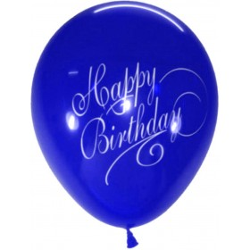 Stylish Happy B'day Latex Balloons (Blue) - Pack of 5